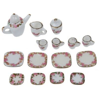 Set of 15pcs 1/12 Dollhouse Miniature Dining Ware Porcelain Tea Set Pot+Dis L5J2