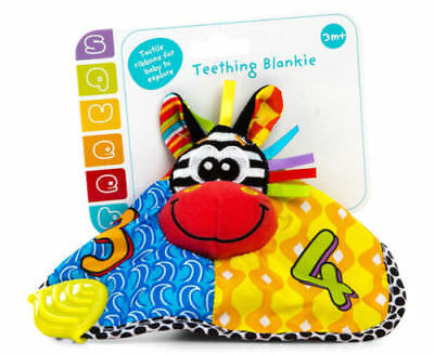 Playgro Zebra Teething Blankie Bright Multi Coloured Baby Teether Gum Soother