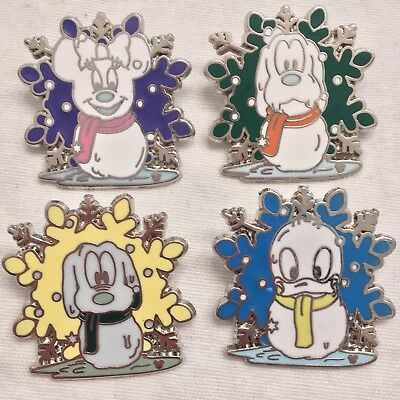 4 Disney Pins 2007 Hidden Mickey Disneyland Resort Snowman Collection