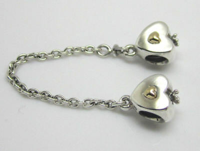 Authentic Pandora Silver 14K Gold Heart & Crown Safety Chain 791878