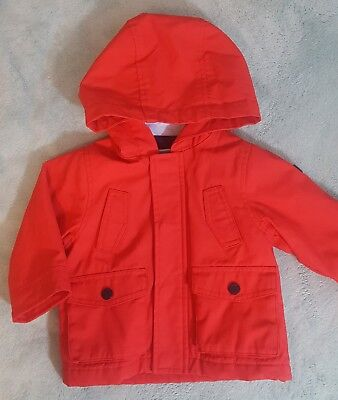 Jacadi Paris Raincoat Oilskin Water Repellent Lined Hood Unisex Red- 12 month