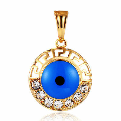 18K Gold Filled Hollow Blue Evil Eye Cubic Zirconia  Pendant For Chain Necklace