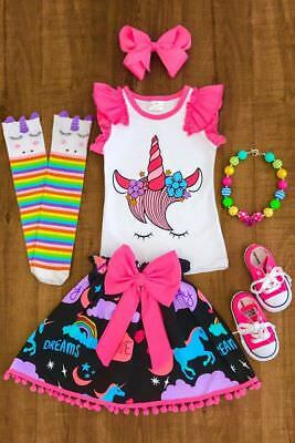 Unicorn Kids Baby Girls Outfits Clothes T-shirt Top+Tutu Skirt Dress Party Dress