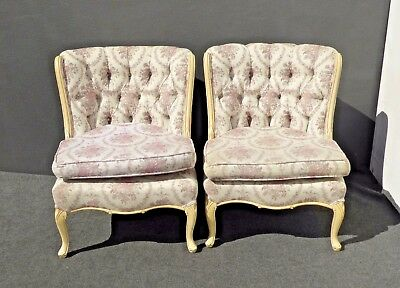 Pair or Vintage French Country Provincial Tufted Floral Design Accent CHAIRS