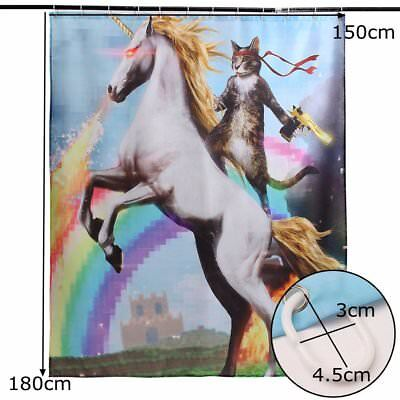 Funny Unicorn and Cat Polyester Fabric Waterproof Shower Curtain & 12 Hooks D1