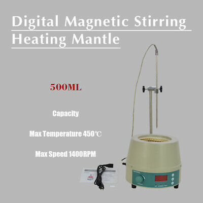 500ml Electric Digital LCD Magnetic Stirring Heating Mantle 842℉ 250W 0-1400prm