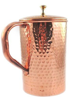 Hand Hammered Copper Jug Pitcher With Lid For Health Benefits Capacity 50 Ounce