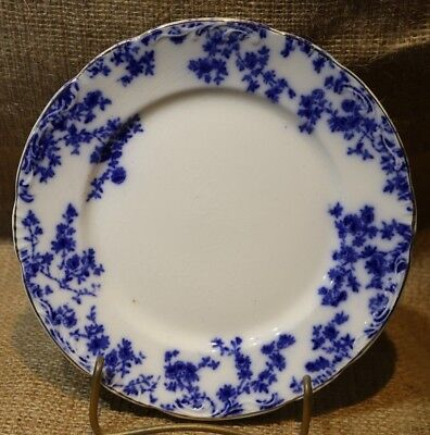 """Flow Blue Bread/Dessert Plate by WH Grindley England-""""Olympia"""" Pattern"""