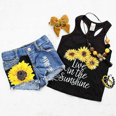 Toddler Kids Baby Girl Sleeveless T-shirt Vest Tops+Pants Outfit Clothes Sets