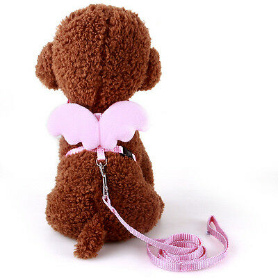 Cute Angel Pet Dog Leashes and Collars Set Adjusted Small Dog Cat Vest Harness