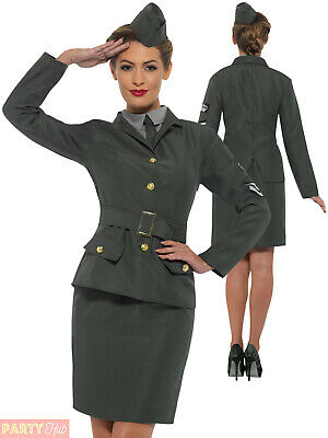 Ladies WW2 Army Girl Costume Adults World War History Fancy Dress Womens Outfit