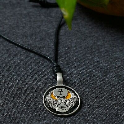 Egyptian Eye Of Horus Scarab Silver Pewter Charm Necklace Pendant Jewelry