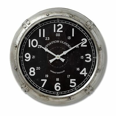 Aviation Themed Round Metal Wall Clock Antiqued Silver Black Vintage Style 51cm