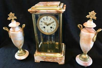 Antique clock French marble four glass garniture crystal regulator Paris