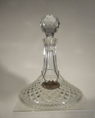 Antique Vintage Cut Glass Decanter Sterling Silver Brandy Label Crystal Bar