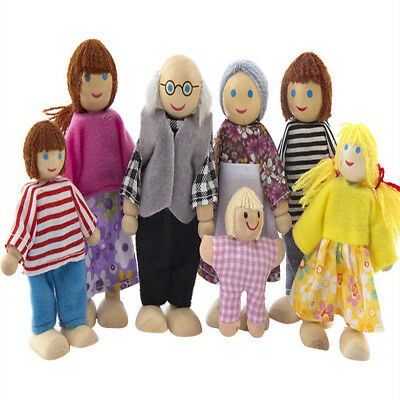 Wooden Furniture Dolls House Family Miniature 7 People Doll Toy For Kids Child