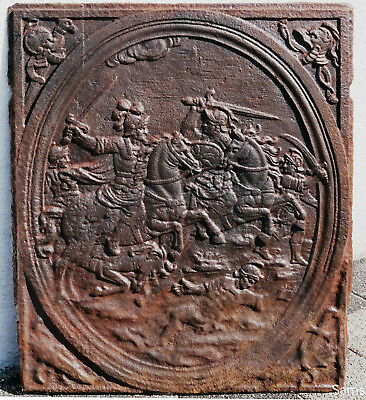 "Original Antique Fireback Cast Iron  ""Riding scene""- 18th C from France"