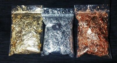 5 Gram Each Huge Beautiful Gold Silver Copper Leaf Flakes Great For Vial Filling