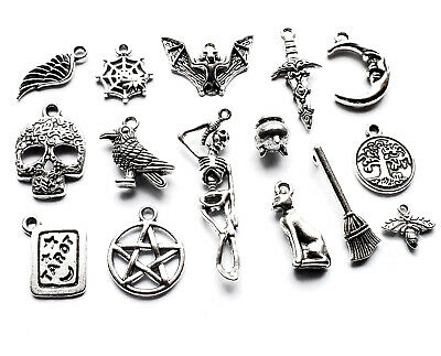 15 x Mix Gothic Wicca Magic Charm Pendant Silver Plated Bat Tarot Skeleton Raven
