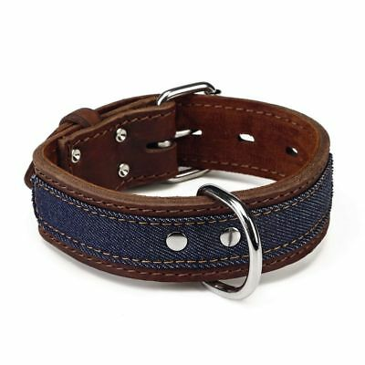 Beeztees Collare Collarino per Cani Cane Morbido Denim in Pelle 40 mm 33-43 cm#