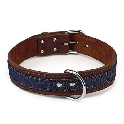 Beeztees Collare Collarino per Cani Cane Morbido Denim in Pelle 45 mm 62-71 cm#