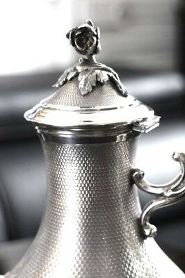 BIG TEAPOT (447 Grams) in French STERLING SILVER with decor of rose and flowers