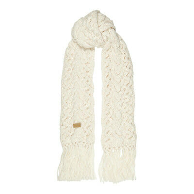 Aran Traditions Womans Ladies Winter Warm Chunky Style Cream White Fringe Scarf