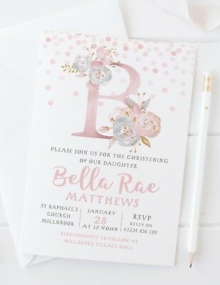 10 Personalised Girls Christening Invitations Or Thank You Cards - Pretty Pink