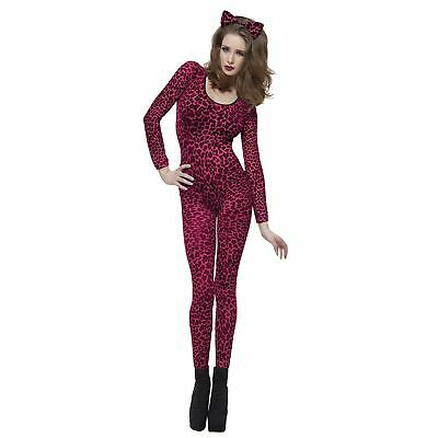 Pink Leopard Print Catsuit Bodystocking Ladies Womens Adults Fancy Dress Costume