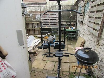 Gym equipment - Olympic bench, various weights, bars and lat pull down machine