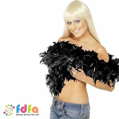 Black Deluxe Feather Boa 180cm Hen Night Ladies Womens Fancy Dress Accessory