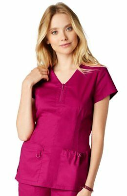817c8dde6f8 Koi Stretch Women Mackenzie Zip V-Neck Solid Scrub Top Lipstick Sizes XS-XL