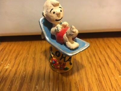 Charlie Brown Peanuts Figurine Thimble Base Painted Pewter