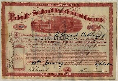 1881 Belleville and Southern Illinois Railroad Company Stock Certificate
