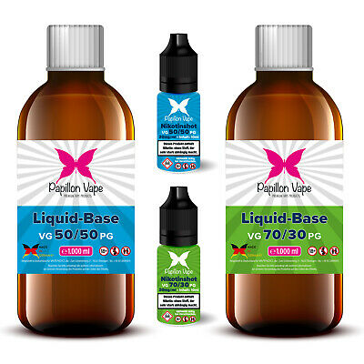 1 Liter E Liquid Base Vape Set 0/3/6/9/12/15/18mg Nikotin Shots 20mg 50/50 70/30