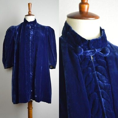 Vintage 1930's Blue Velvet Swing Jacket