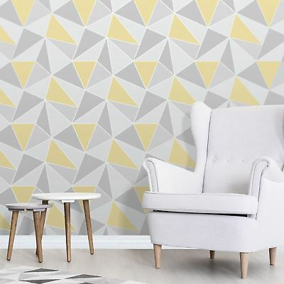 Wallpaper Triangles Silver Grey Mustard Yellow Metallic Shimmer - Lot Qty = 6