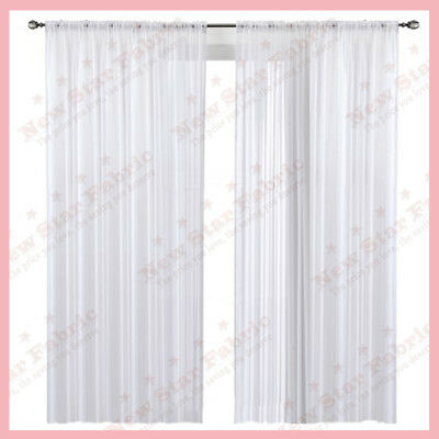 "Voile Chiffon Sheer wedding Curtain 9ft. Drape Panel Backdrop 120"" X 108"" White"