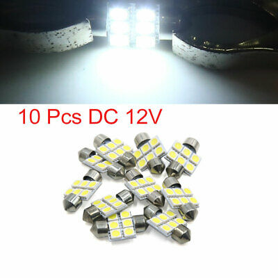 10pcs White 31mm 5050 SMD 6 LED Car Lights Festoon Interior Dome Map Lamp Bulb