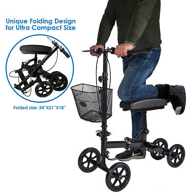 Foldable Medical Steerable Knee Walker Aid Scooter Crutch Roller Black Upgraded