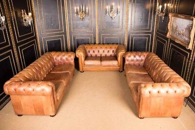 Original English Chesterfield Leather Set 3er, 3er & 2er