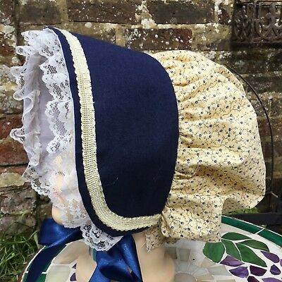 Girls VICTORIAN Cotton BONNET Edwardian Country Costume Dickens School Austen