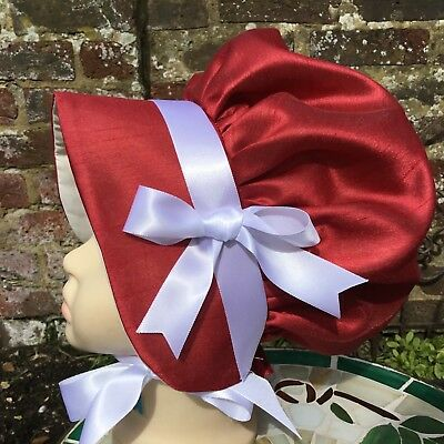 Girls VICTORIAN Red Faux Silk BONNET Edwardian Costume Oliver School drama Bow