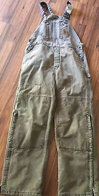 Carhartt Quilt Lined Insulated Bib Overalls Size 36x32  Brown
