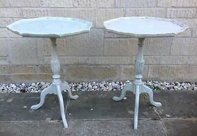 A Pair Of Painted Vintage French Style Side Lamp Tables  ~ Shabby Chic Project