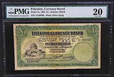 one 1 pound palestine 1927 banknote. Extra rare first issue