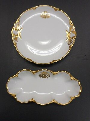 A Pair Of Monogrammed  Haviland Charger & Celery Tray Artist Signed