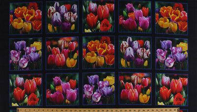 Stoffe Tulips Flowers Dutch Holland Pink Blue Floral Cotton Fabric Print BTY D577.24
