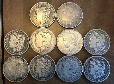 10 Morgan Peace Silver Dollar US Coins Lot Antique Estate American