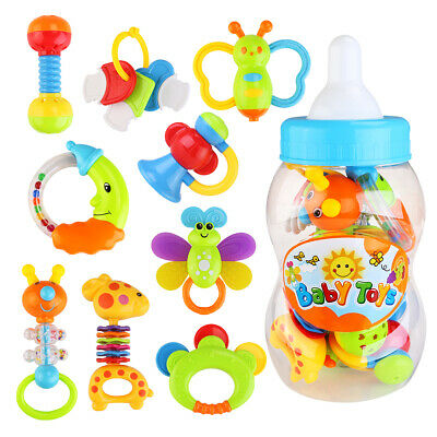 9pcs Baby Teething Teether Toy Rattle Play Toy with Giant Milk Bottle Grasp